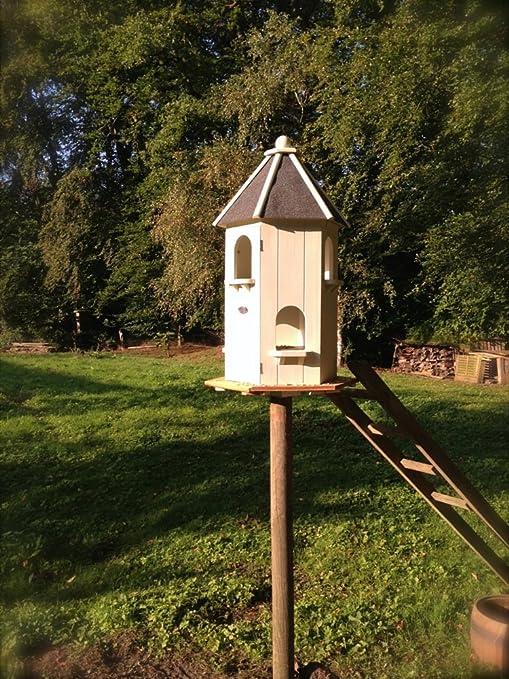 Antikas - casita para pájaros o palomas - casa comedor alimento - casita decoración jardín - comedor animales: Amazon.es: Jardín