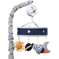 Lambs & Ivy Milky Way Musical Baby Crib Mobile - Blue/Navy/Gray Space Theme