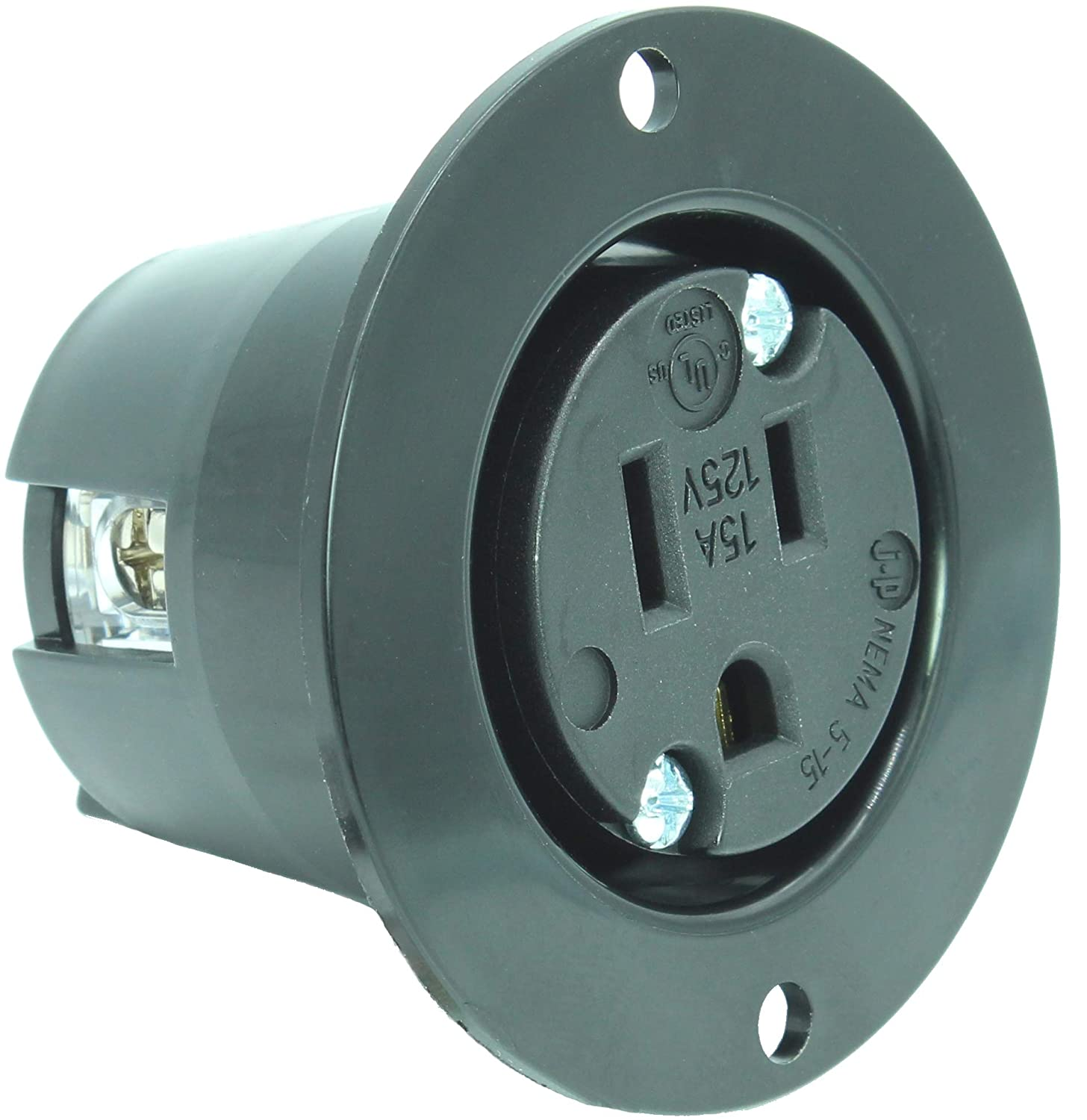 Journeyman Pro 5279 15 Amp 120 125 Volt Nema 5 Flanged Outlet Heavyduty 3wire Replacement Male Electrical Plug Amazoncom Black Commercial Grade 2 Pole 3 Wire Straight Blade Charger Receptacle No Cover Cap
