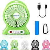 Portable Fan, Dizaul mini usb rechargeable fan with 2600mAh Battery Operated and Flash light,for Traveling,Fishing,Camping,Hiking,Backpacking,BBQ,Baby Stroller,Picnic,Biking,Boating (Green)