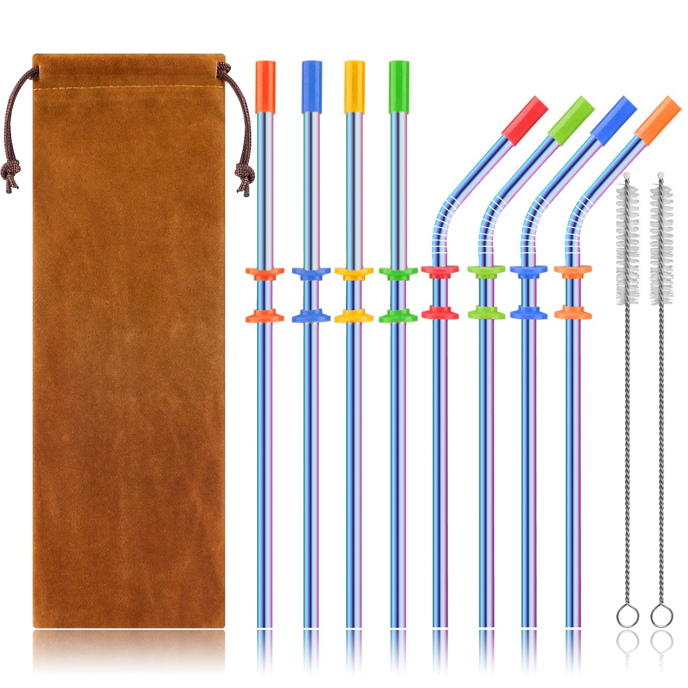 Stainless Steel Straws Set, Kereda 8 Pack 10.5 Inch Long Drinking Metal Reusable Straws with Cleaning Brushes and Silicone Covers For Tumblers Cups Cold Beverage (4 Straight|4 Bent), Multicolor