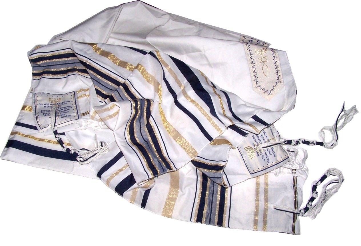 New Covenant Prayer Shawl, English / Hebrew & Bag (Israel) Holy Land (Blue) Bethlehem Gifts TM