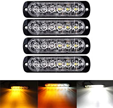 10 X Amber 4LED Car Truck Emergency Beacon Warning Hazard Flash Strobe Lights