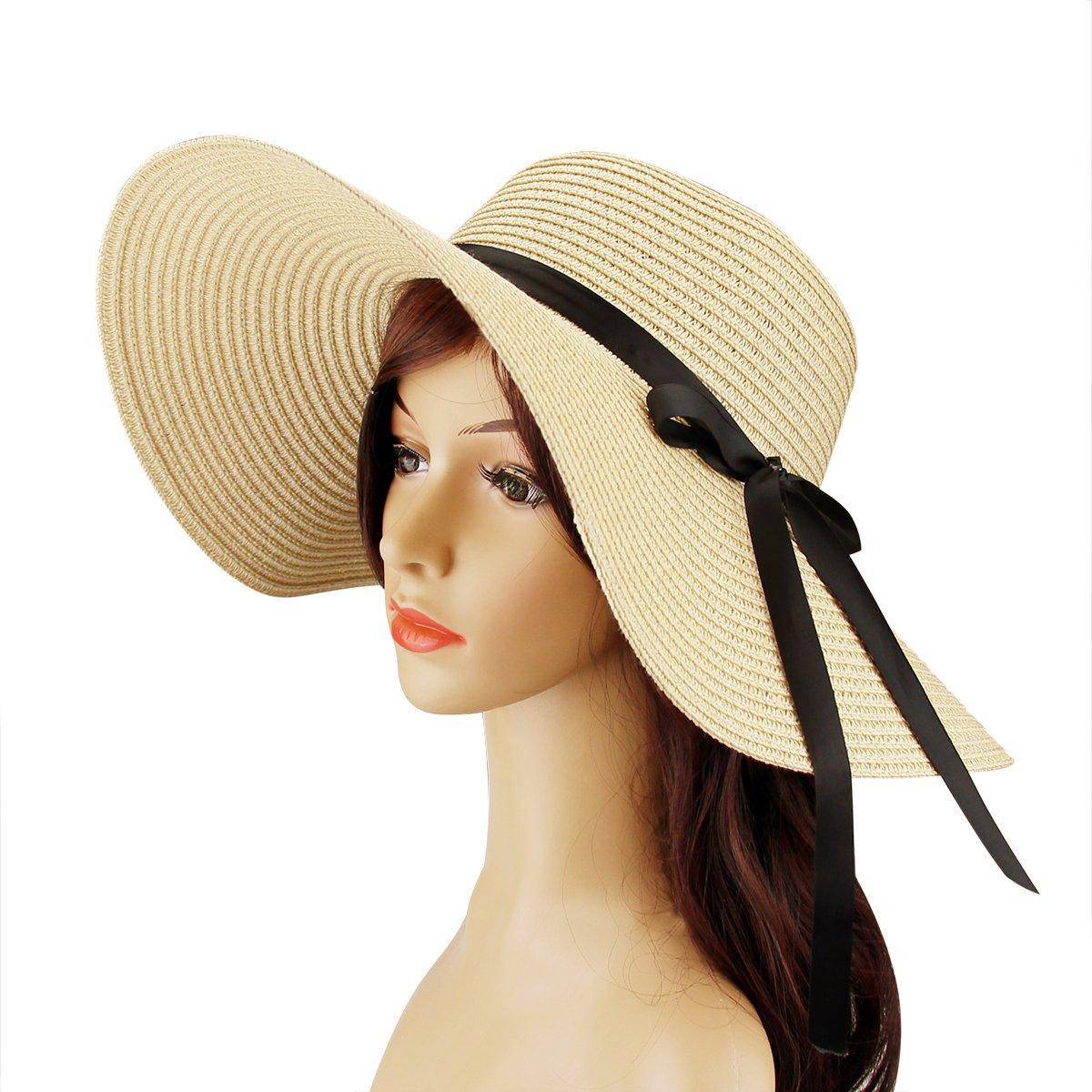 Womens Beach Hat Foldable Summer Cap Big Brim Straw Hat Travel Bowknot Floppy Sun Hat Beige