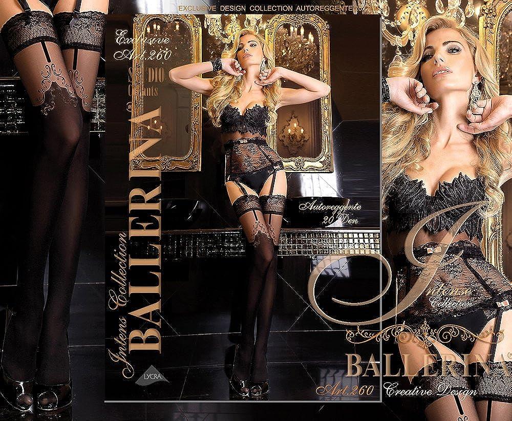 mit Muster schwarz Strapsoptik Unbekannt Ballerina Halterlose Damen-Str/ümpfe