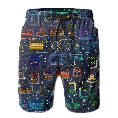 4e691e7638 SHATAN KUS Men's Gaming Pattern Gamer Gift Quick Dry Casual Swim Trunks M  Beach Board Shorts