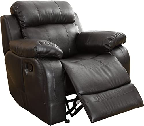 Homelegance Rocker Reclining Chair, Black Bonded Leather