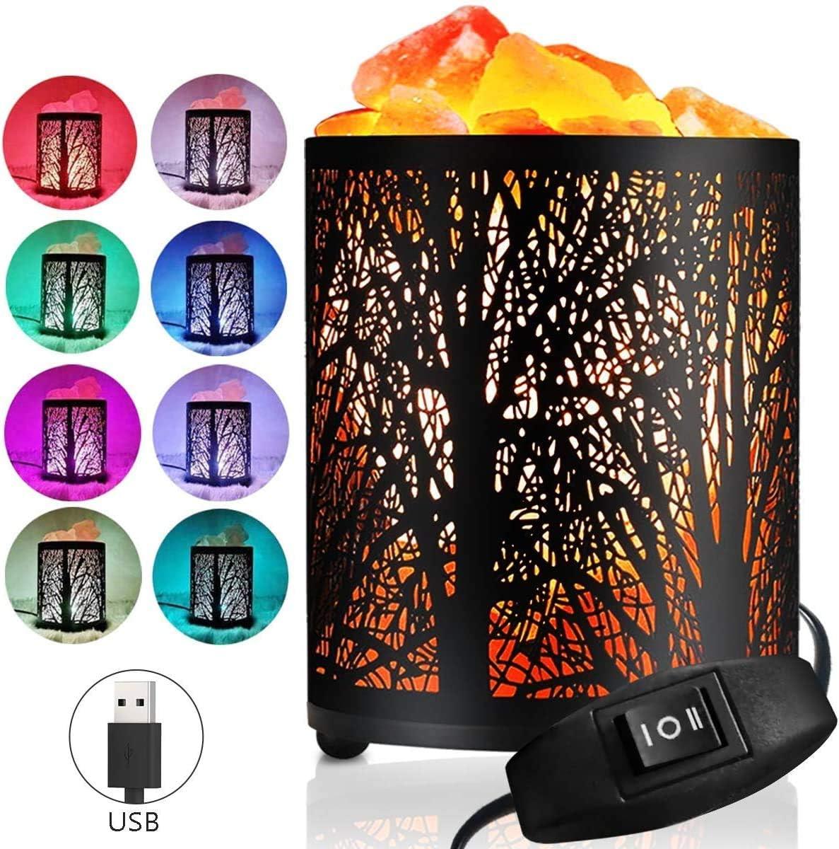 Lámpara de sal del Himalaya natural, Usb Cambia de Color purificador luz nocturna, lámpara de dormitorio noche, Lámpara sal cálida para regalo de padre madre