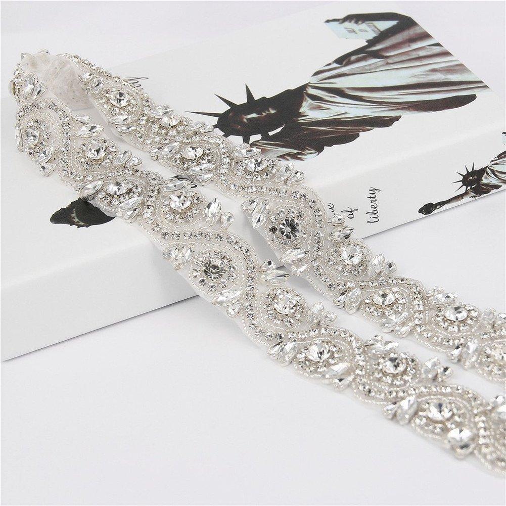 TRLYC - Fusciacca per abito da sposa, con diamanti sintetici applicati, colore trasparente, Altro, S...