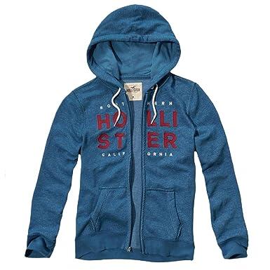 Sudadera con capucha Hollister con forro polar y logo con textura, para hombre azul azul Small: Amazon.es: Ropa y accesorios