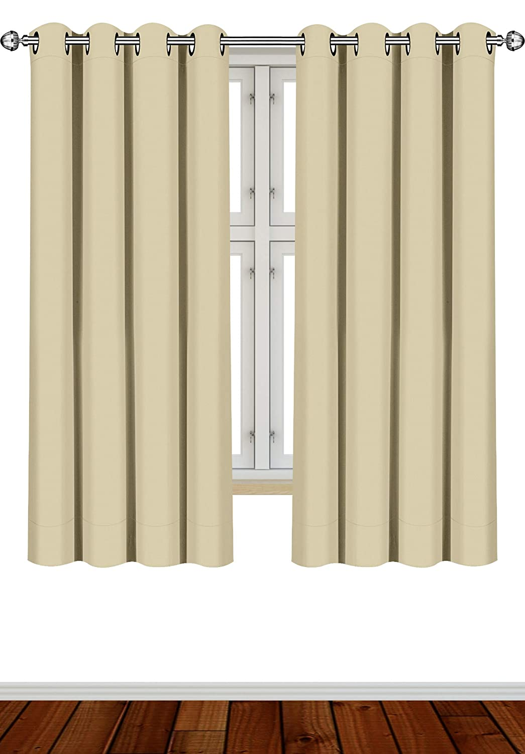 Utopia Bedding 2 Panels Eyelet Blackout Curtains Thermal Insulated for Bedroom, W69 x L55 Inches, Beige