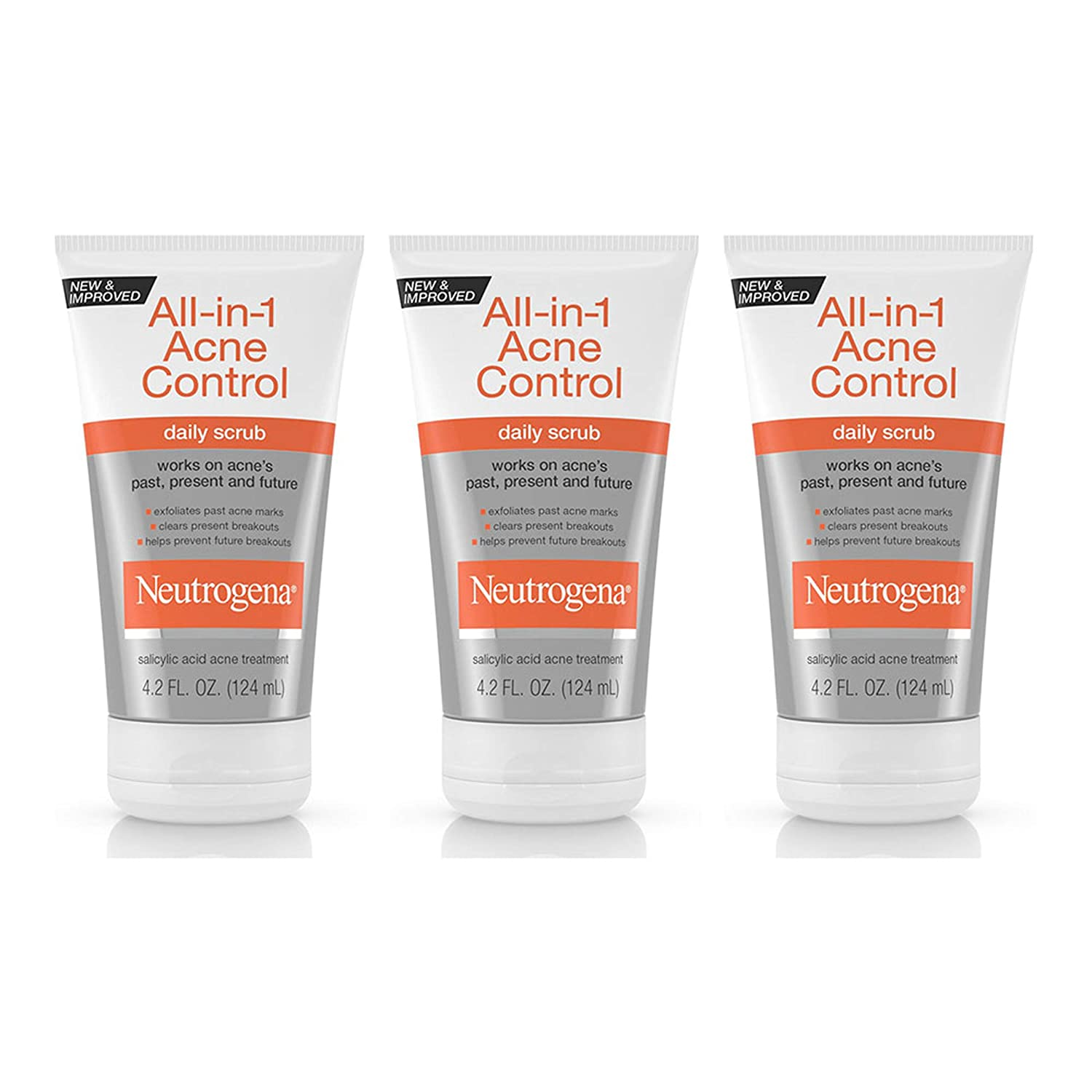 Neutrogena All-In-1 Acne Control Daily Face Scrub to Exfoliate and Treat Acne, Salicylic Acid Acne Treatment, 4.2 fl. oz (Pack of 3)