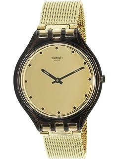 Swatch Skin Skinmoka Gold Dial Stainless Steel Ladies Watch SVOC100M