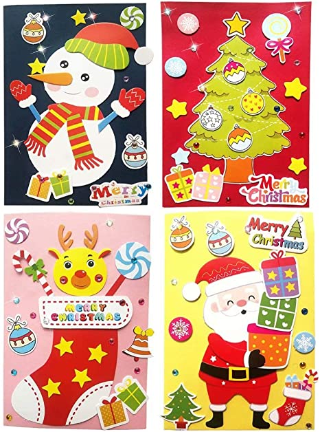 Christmas Card Folded Cards and Matching Envelopes Thank You Card Art Crafts Crafty Set Gifts for Girls Boys Card Making Kits DIY Handmade Greeting Card Kits for Kids