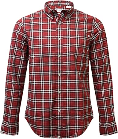 Timberland Mens Long Sleeve Button Down Shirt (Medium, Red): Amazon.es: Ropa y accesorios