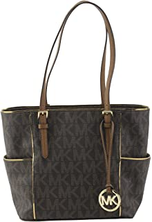 c461a6b965 MICHAEL Michael Kors Womens Specchio Leather Signature Tote Handbag Brown  Large
