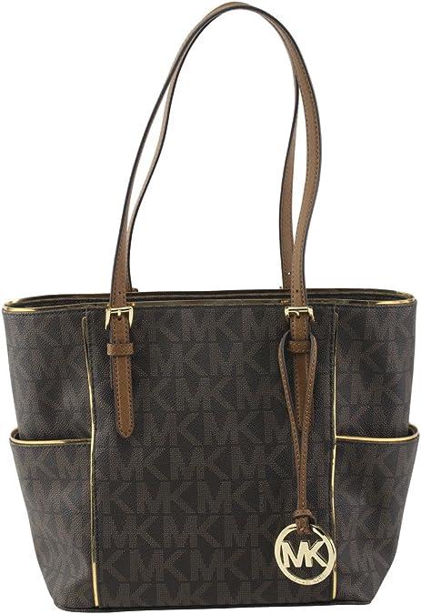MICHAEL Michael Kors Womens Specchio Leather Signature Tote Handbag Brown Large