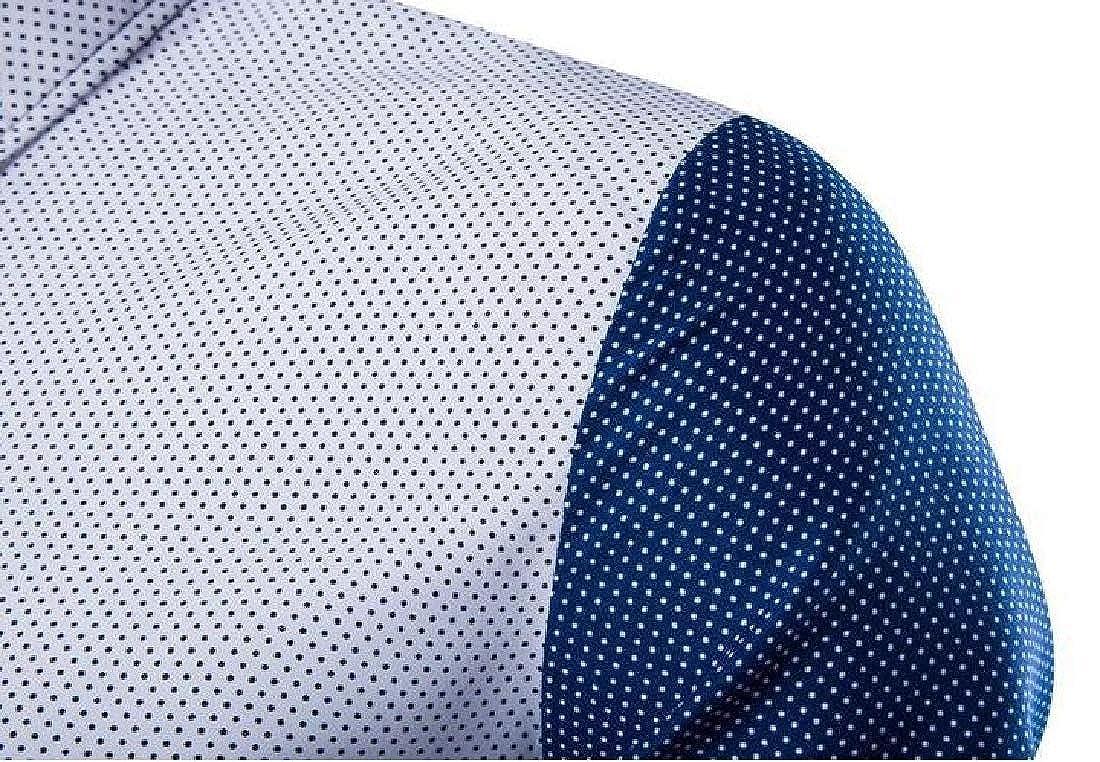 Fubotevic Men Shirts Contrast Long Sleeve Polka Dot Printing Button Down Dress Shirts