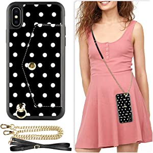 iPhone Xs Max Wallet Case, ZVE iPhone Xs Max Case with Credit Card Holder Slot Adjustable Crossbody Chain Strap Handbag Purse Wrist Strap Case Cover for Apple iPhone Xs Max 6.5 inch - Polka Dots