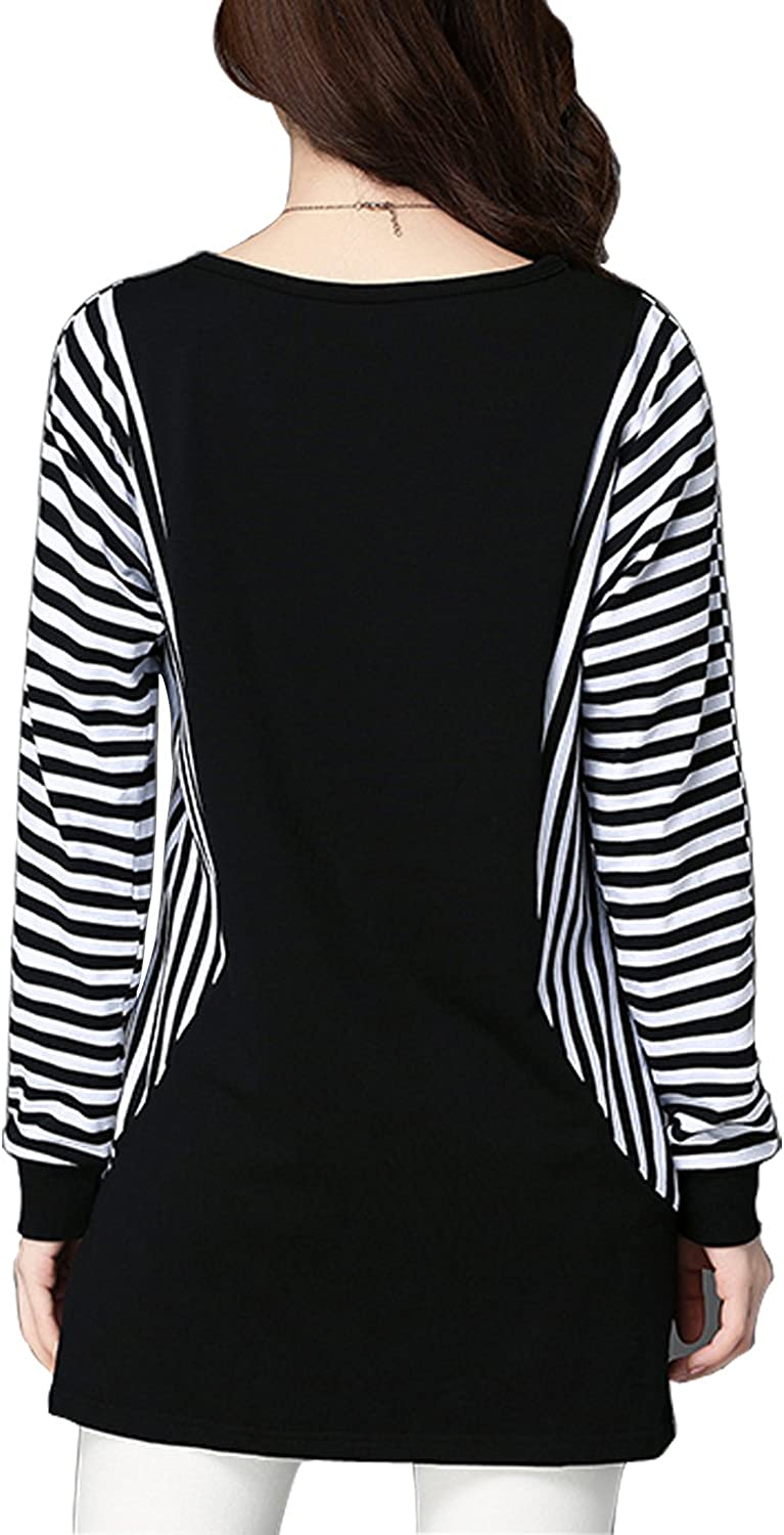Tulucky Womens Striped Patchwork Sweatshirt Casual Tunic Top Basic Shirts