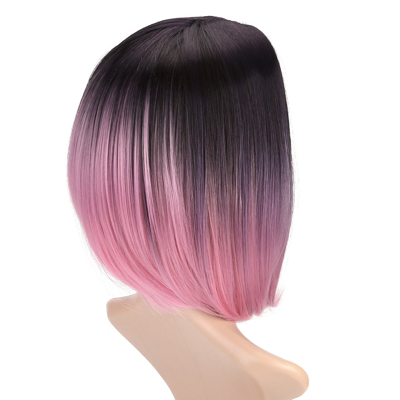 CCbeauty Ombre Bob Wig Straight With Middle Part Short Fashion Wig Cosplay Pink Ombre Wig Full Head Synthetic Wig for Women 14 Inches by CCbeauty (Image #4)