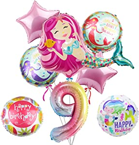 """40.5"""" Mermaid Balloons- Pack of 8, Large Pink Mermaid Mylar Balloon for 9th Birthday Balloon Bouquet Decorations, Mermaid Theme Party Supplies, Baby Shower, Home Office Decor, Birthday Backdrop"""