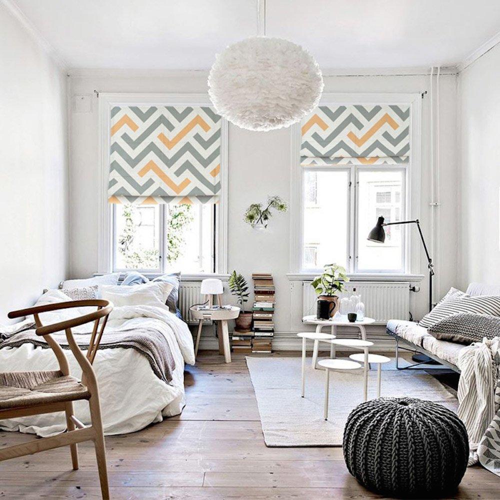 KARUILU home Quick Fix Washable Roman Window Shades Flat Fold , Geometric Color Pattern (40W x 63H, Moderne)