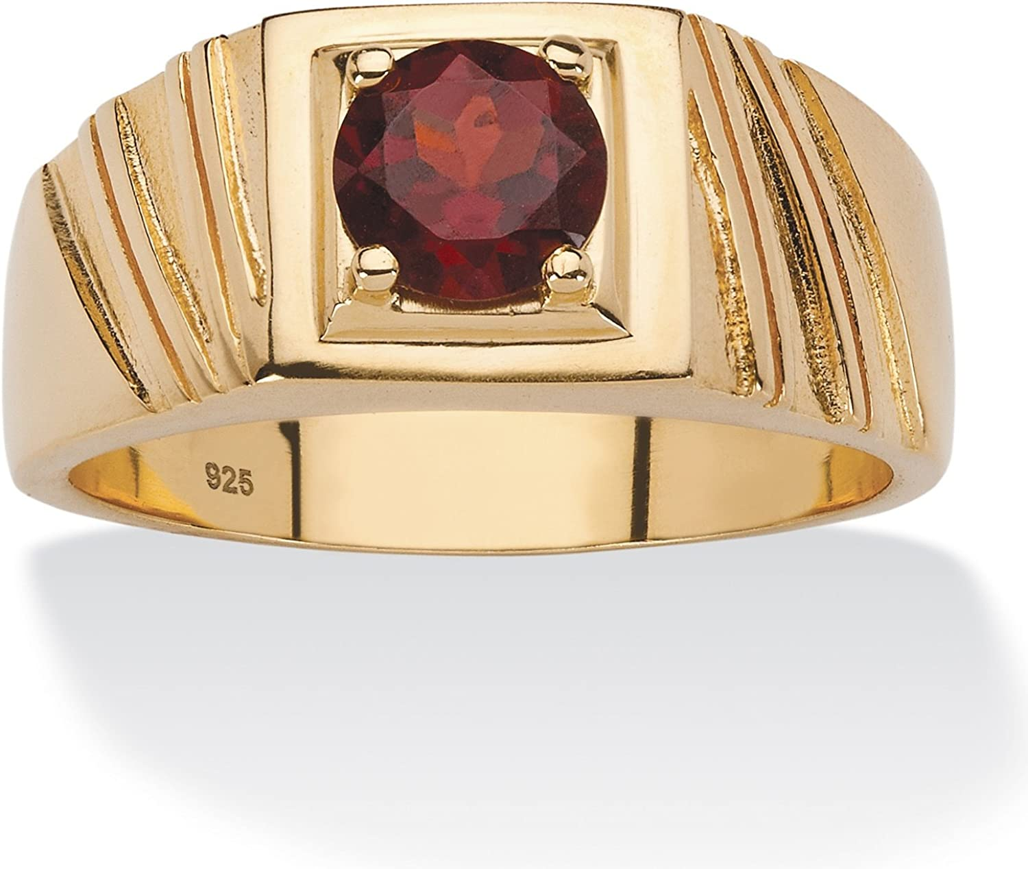 Men's 14K Yellow Gold over Sterling Silver Round Genuine Red Garnet Textured Ring
