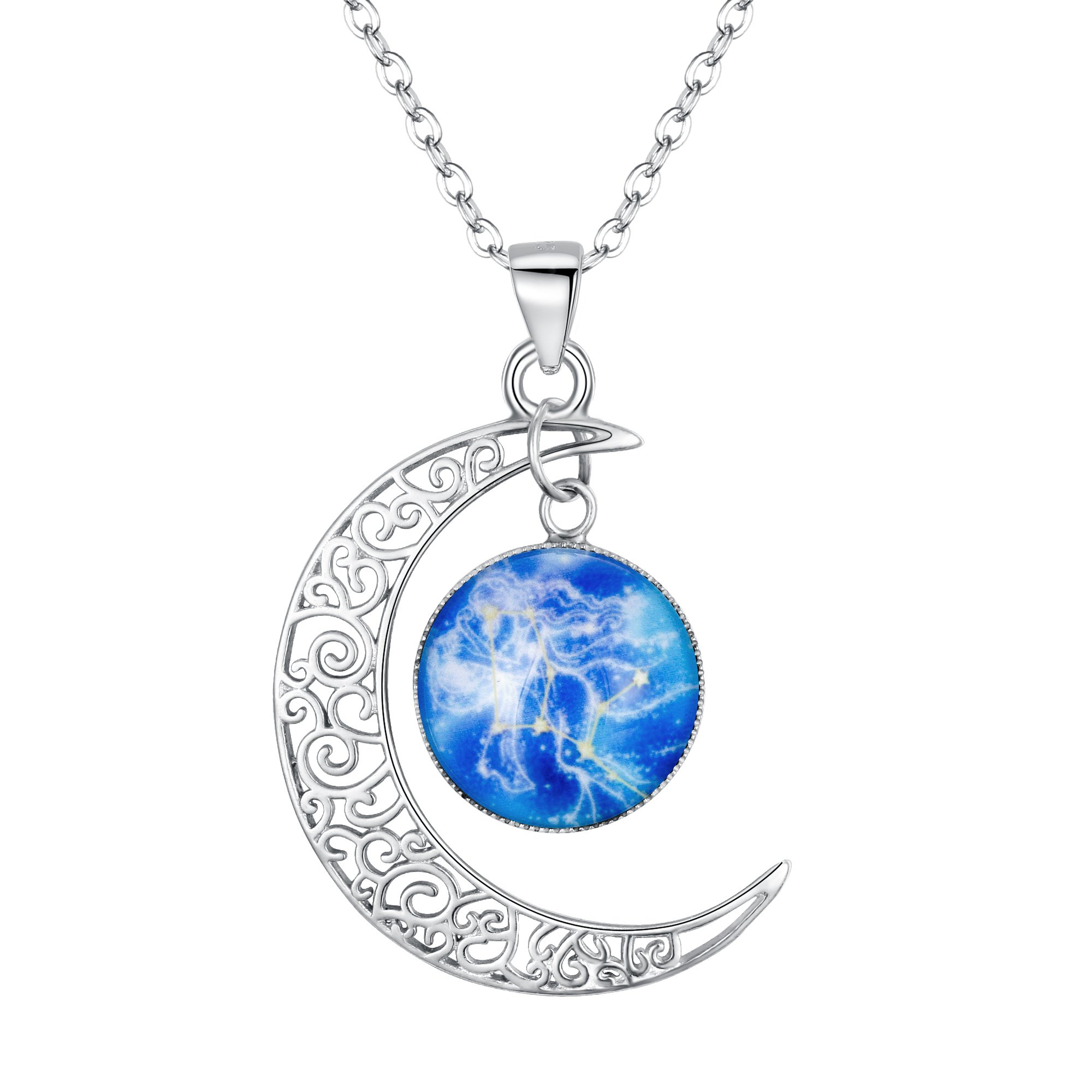 BriLove 925 Sterling Silver Necklace for Women -''Virgo'' Galaxy Constellation Zodiac Horoscope Astrology 12 Crescent Moon Glass Bead Pendant Necklace
