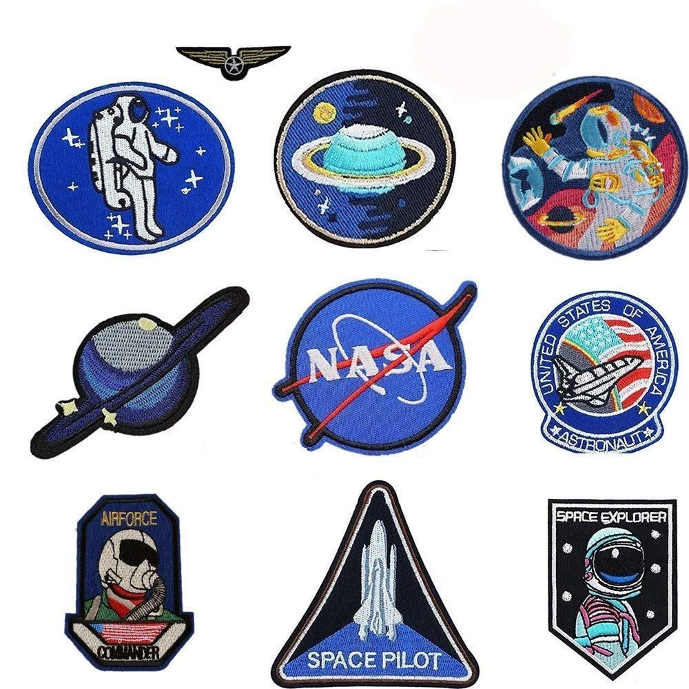 Jelacy 10 Pcs NASA Patches Iron On jackets, space patches Motif Applique Sew on With Iron Heating for Decoration of Characteristic Jeans Wear to show Your Style 4337010891