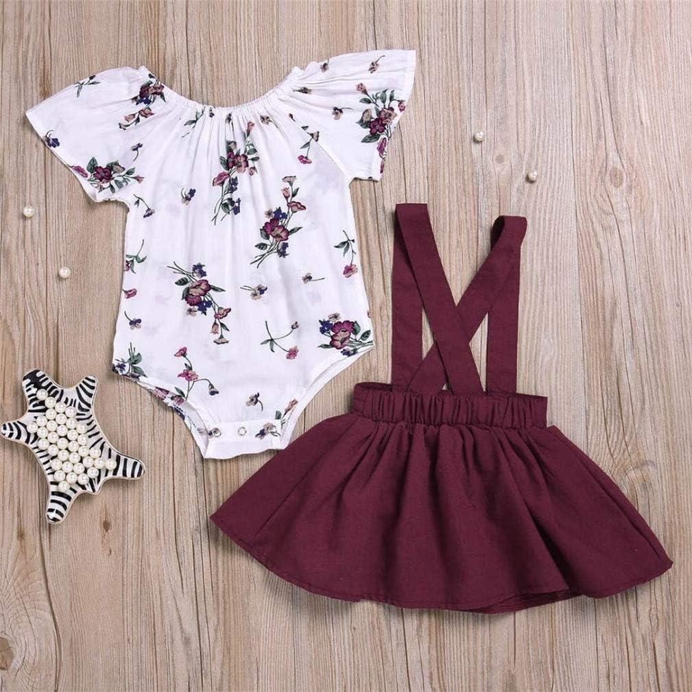 Litter Girl Infant Short Sleeve Summer Suspender Floral Skirt Outfit Set