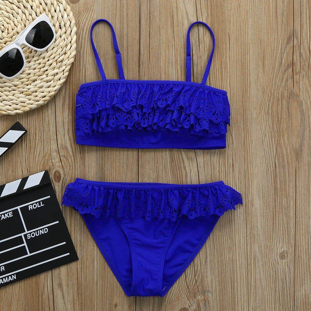 e3a300fc0054 Xinantime Costume da Bagno Bambina Pizzo con Balze Due Pezzi Giarrettiere  Bikini Bambini Tinta Unita Moda Mare Fascia Beachwear Ragazze 6-13 Anni: ...