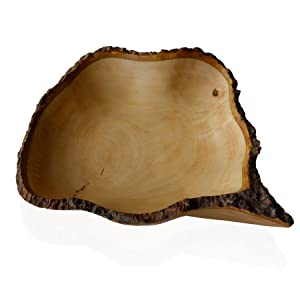 roro Hand-crafted Sustainable Mango Wood Fruit Bowl with Bark Edges, 16 Inch Large