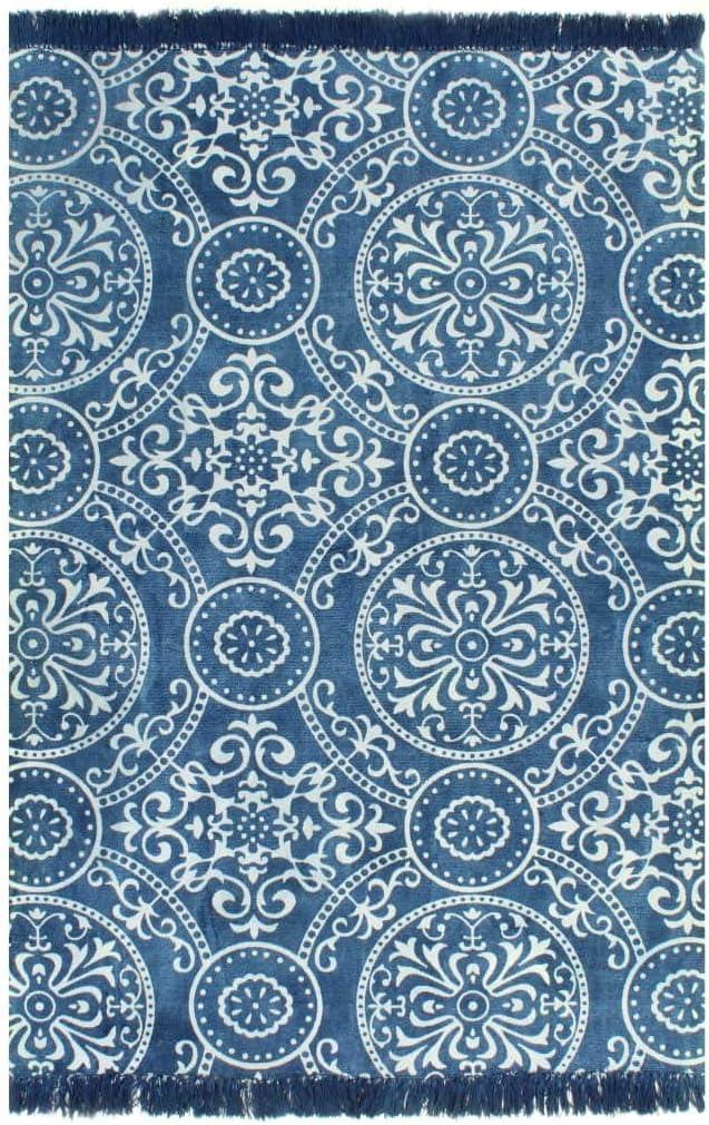 XINGLIEU Alfombra Kilim de algodón 160 x 230 cm con Motivos Azules ...