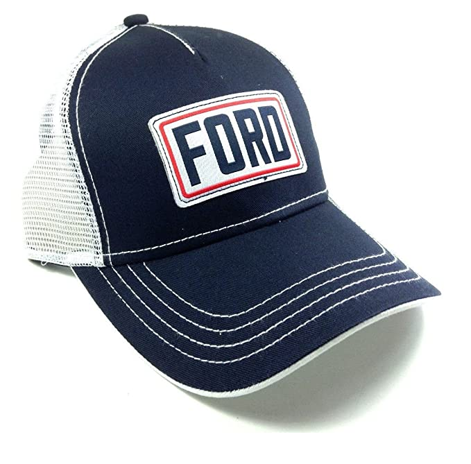 66c4ce4e207 Navy Blue   White Ford Mesh Trucker Adjustable Snapback Hat at ...