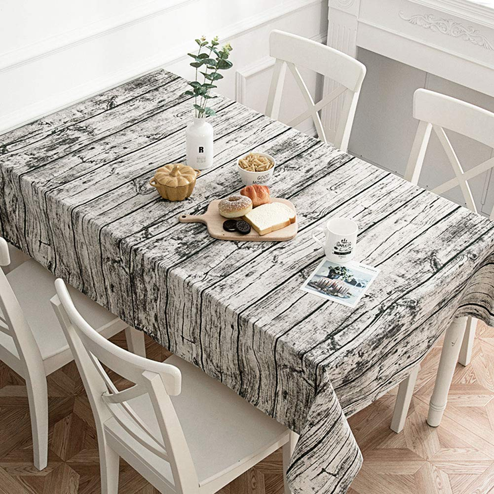 ederivo Retro Wood Grain Tablecloth Kitchen Linens Dust-Proof Table Cover for Kitchen Dinning Tabletop Decor (Rectangle/Oblong, 55 x 79 Inch)