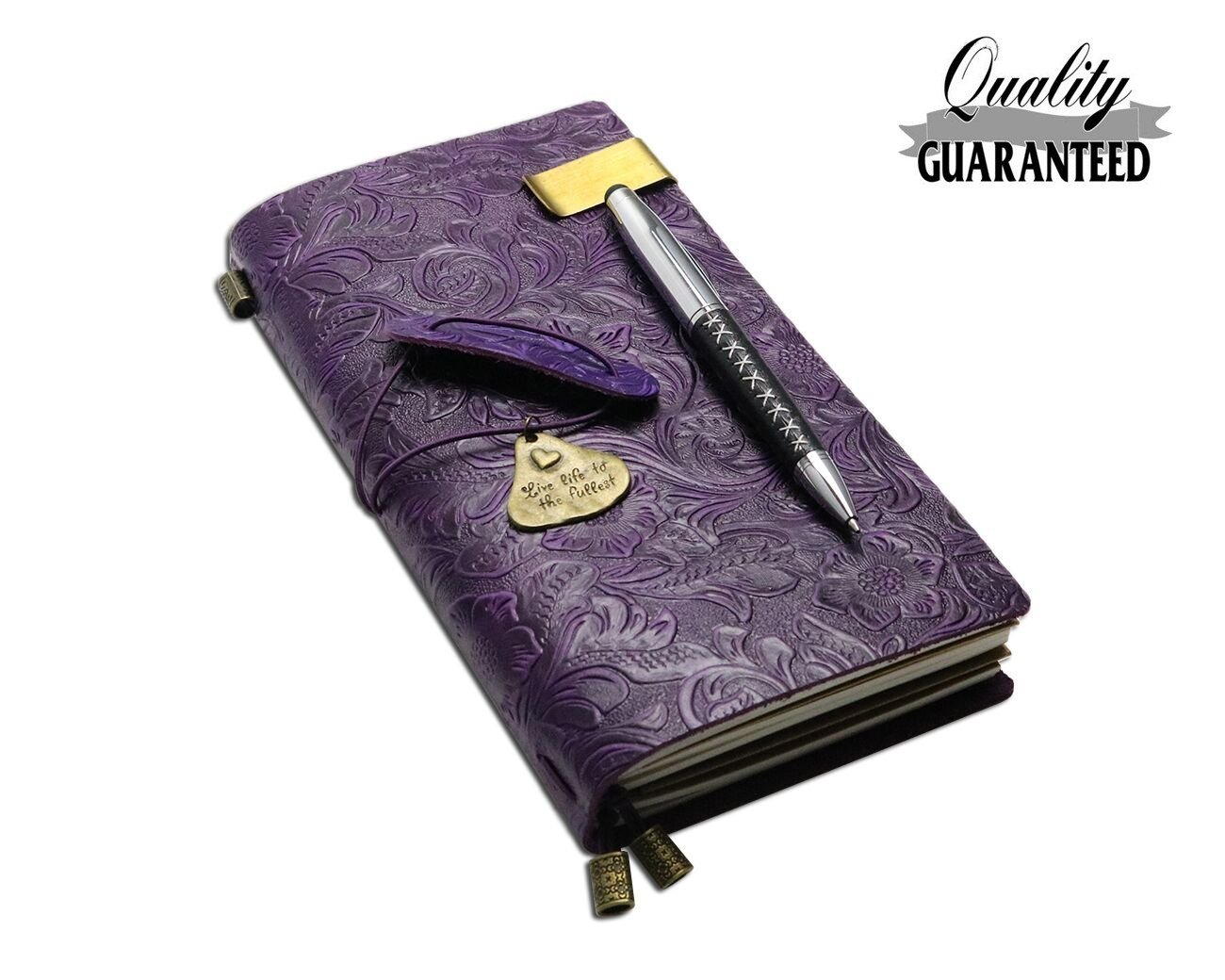 Travelers Notebook 100% Vintage Refillable Leather Journal Flower Embossed Refillable Traveler Notebook Travel Journal with Ballpoint Pen, Travel Gifts for Men & Women, Perfect to Write in-Purple