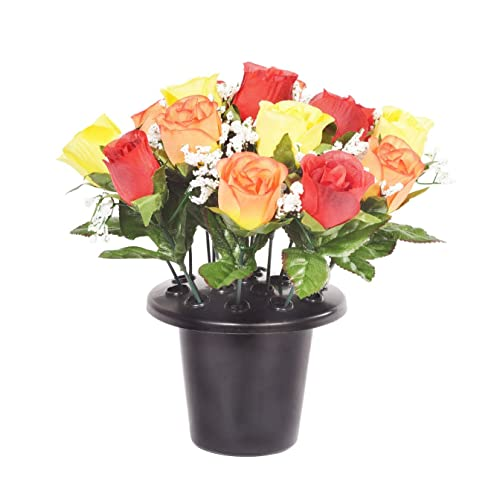 Silk flowers for graves amazon artificial orange yellow rose grave pot with 16 flowers vase insert memorial mightylinksfo