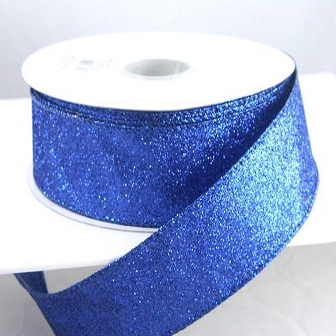 2.5\u201d Silver Glitter On Metallic Ribbon Craft Supplies DIY Wired Ribbon Wreath Supplies