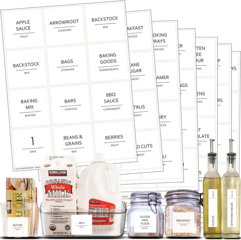 Talented Kitchen 157 Minimalist Supplementary Pantry & Fridge Labels – Pantry Label Sticker Ingredients. Water Resistant, Food Jar Labels Decals Pantry Organization Storage …