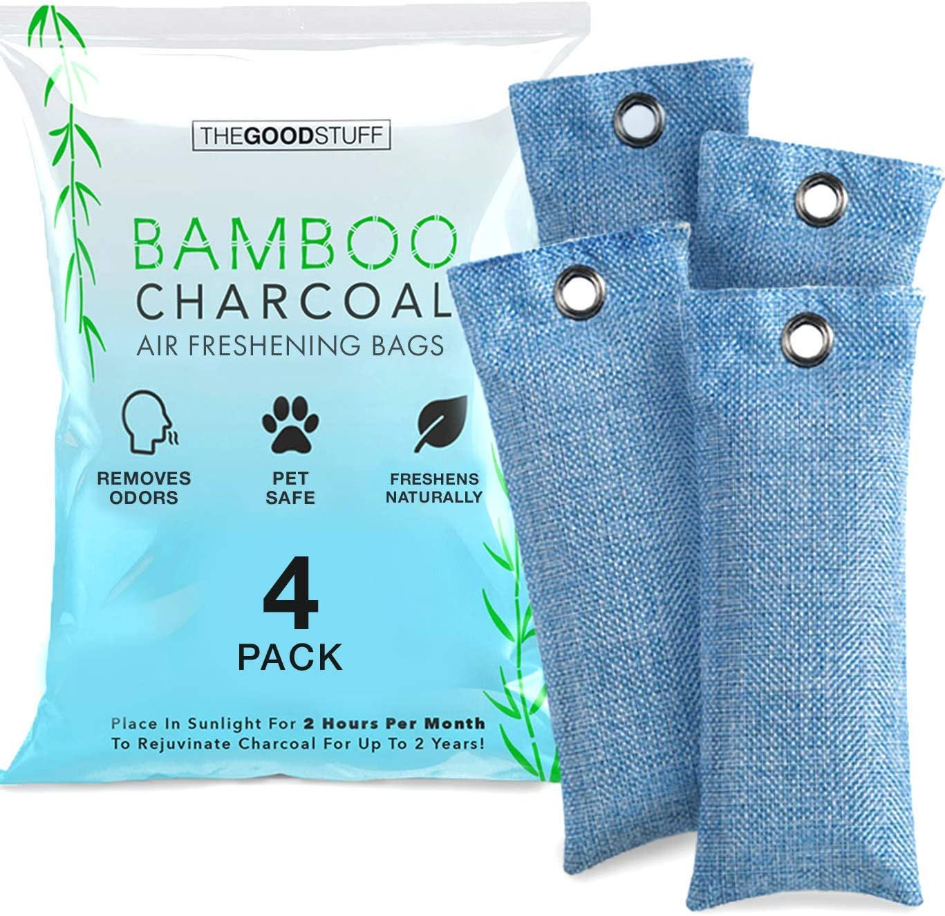 Charcoal Bags for Absorbing Odor: Four Charcoal Deodorizer Bags for Shoe Odor, Fridge Smells, Car Freshening, and Closet Deodorizers: Kitchen & Dining