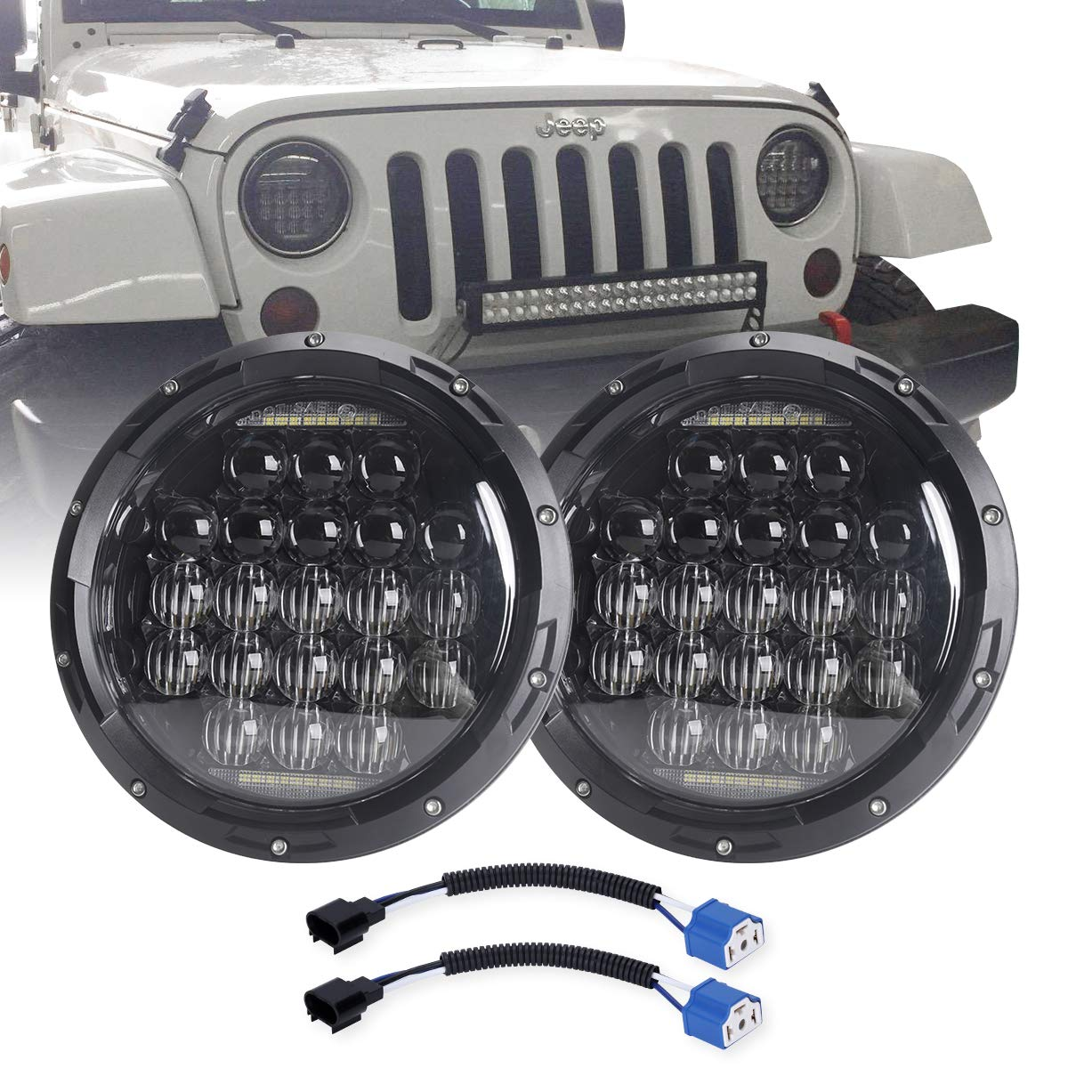 COWONE 7 Inch Round 5D 2019 Newest Design 130w LED Projector Headlight with DRL for Jeep Wrangler JK TJ LJ CJ for Harley Motorcycles by COWONE