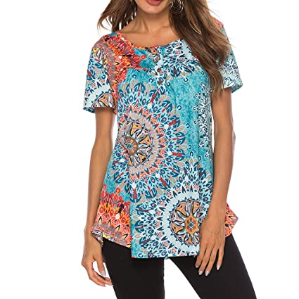 6f2a573b11 Amazon.com: Women's Paisley Printed Short Sleeve Henley V Neck Pleated  Casual Flare Tunic Blouse Shirt