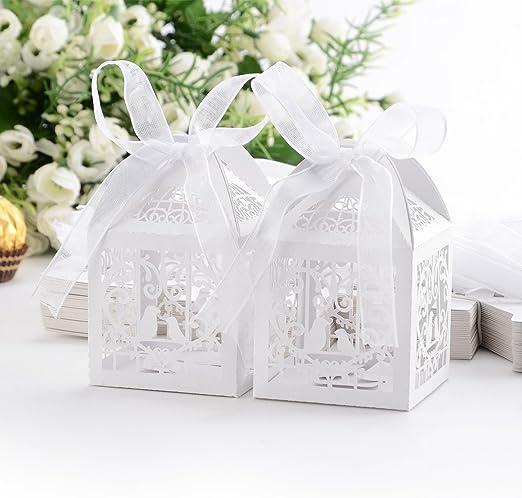 JJPUNK Set de 50 cajitas de boda dulces regalos bombones y detalles Color Marfil: Amazon.es: Hogar