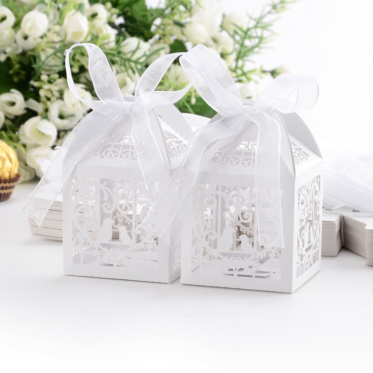 Amazon.com: 60PCs Wedding Favor Box Love Bird Candy Bag Chocolate ...