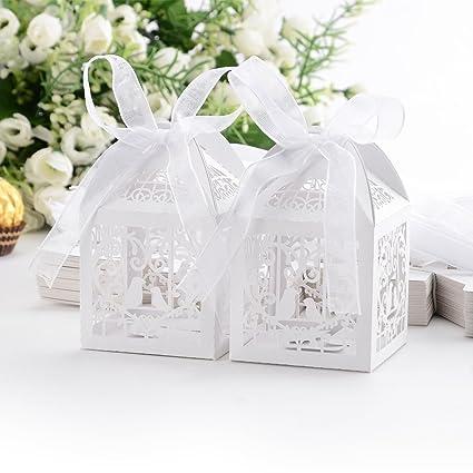 Amazon.com: 60PCs Wedding Favor Box Love Bird Candy Bag Chocolate ...
