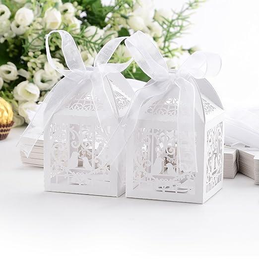 JJPUNK Set de 50 cajitas de boda dulces regalos bombones y ...