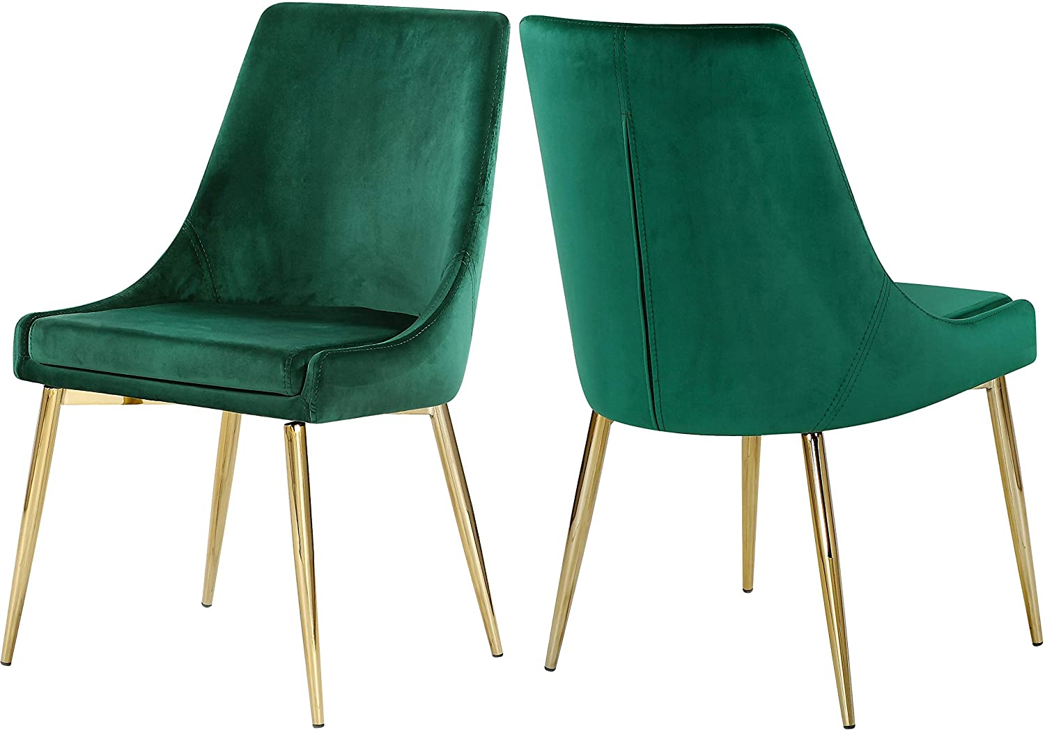 "Meridian Furniture Karina Collection Green Modern | Contemporary Velvet Upholstered Dining Chair with Polished Gold Metal Legs, Set of 2, 19.5"" W x 21.5"" D x 33.5"" H,"