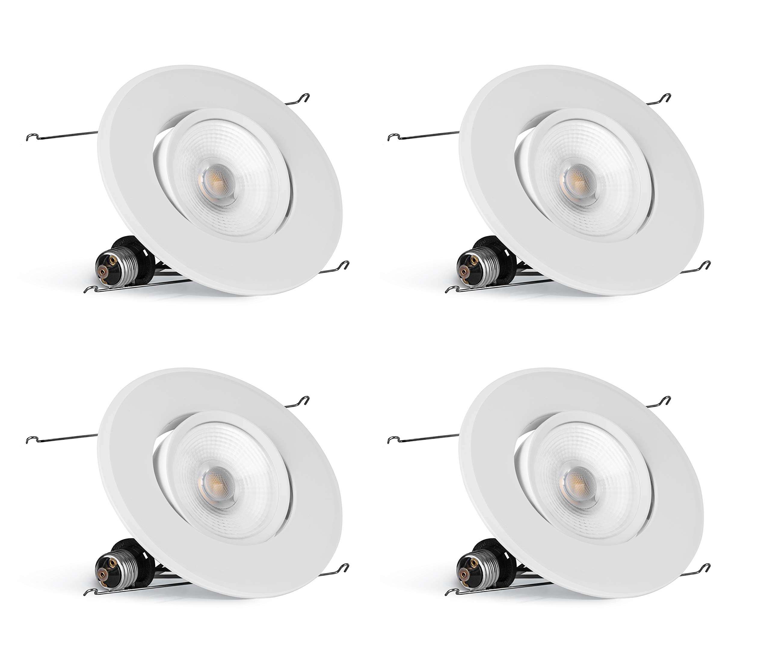 Hyperikon 6 Inch LED Recessed Gimbal Lighting, 75 Watt (16.5W) 5 Inch, Dimmable Downlight, 3000K, 4 Pack
