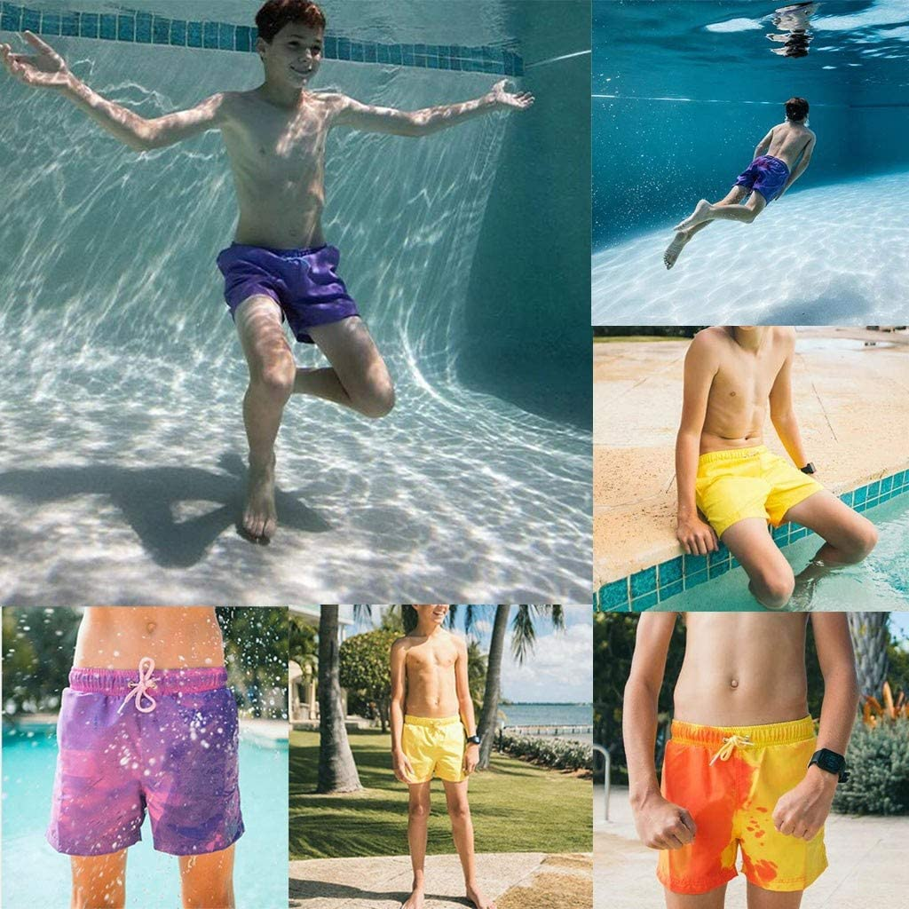 Wedday Boys Swimwear Mens Color Changing Board Shorts That Change Color When Wet Plus Size